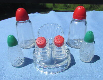 Lot of 3 vintage glass salt & pepper shaker sets plastic tops Hazel Atlas