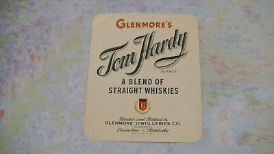 Whiskey Bottle Label 1940's Glenmore's Tom Hardy Bourbon Kentucky
