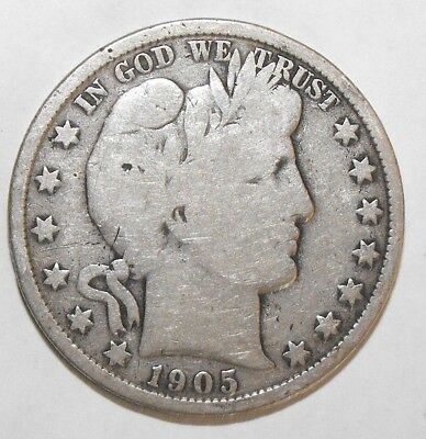 1905 Barber Half Dollar, Circulated and ungraded