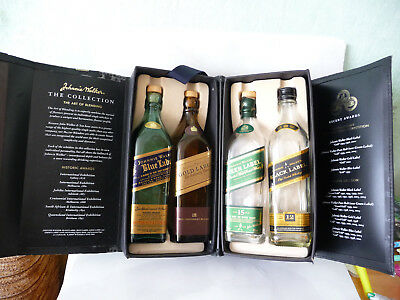 The Collection Johnnie Walker Green Black Gold Blue Label 4x 200ml used empty