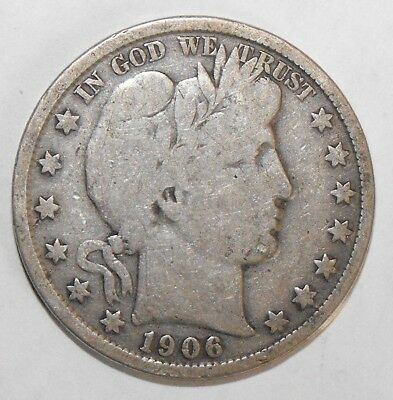 1906 Barber Half Dollar, Circulated and ungraded