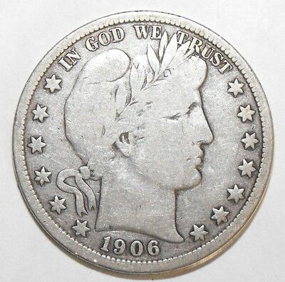 1906D Barber Half Dollar, Circulated and ungraded