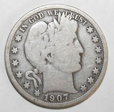 1907 Barber Half Dollar, Circulated and ungraded