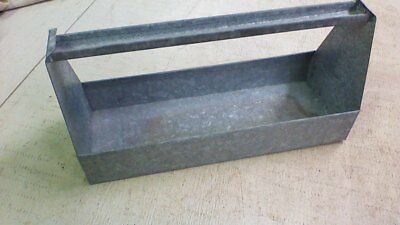 Vintage Galvanized Metal TOOL TRAY /CARRIER BOX /TOTE...Rustic Primative Patina