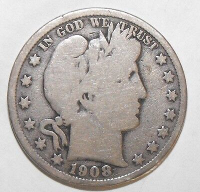 1908S Barber Half Dollar, Circulated and ungraded