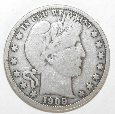 1909 Barber Half Dollar, Circulated and ungraded