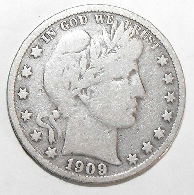 1909S Barber Half Dollar, Circulated and ungraded