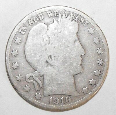 1910 Barber Half Dollar, Circulated and ungraded