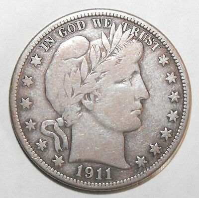 1911D Barber Half Dollar, Circulated and ungraded