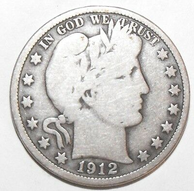 1912 Barber Half Dollar, Circulated and ungraded