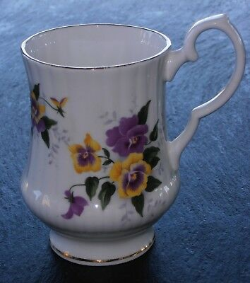 "Royal Windsor Footed Mug, Yellow & Purple Flowers, Ribbed sides 4 1/8"" T #3131"