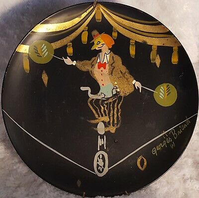 "SIGNED+M&W 1950s Rare GEORGES BRIAND Painted CIRCUS TIGHTROPE Vtg 11"" TOLE Tray"