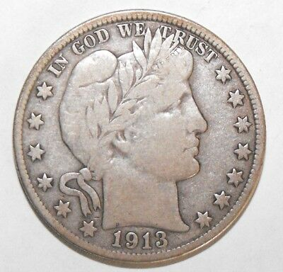 1913D Barber Half Dollar, Circulated and ungraded