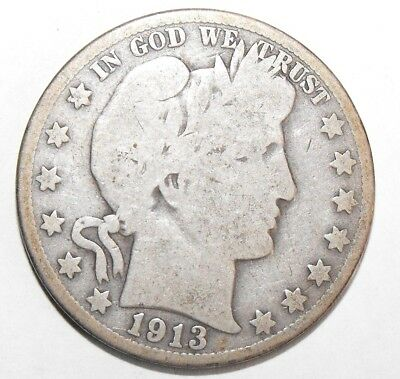 1913S Barber Half Dollar, Circulated and ungraded