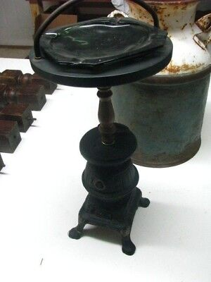 "Antique/vintage Cast Iron Pot Belly Stove Ashtray W/ Handle 23"" Tall"