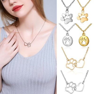 Women Hollow Gold/Silver Dog Paw Heart Necklace Pendant Choker Fashion Jewelry