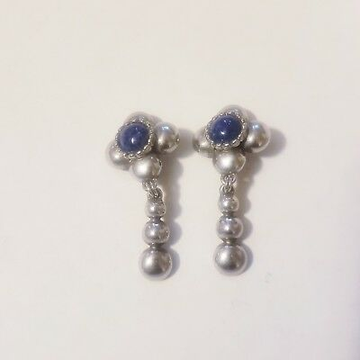 Vintage Pair Of Silver Yosca Earrings With Blue Stone