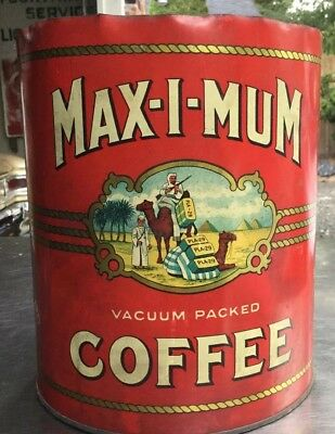 Rare Vintage Seattle Max-I-Mum Brand Coffee Tin Can  Advertising Collectible