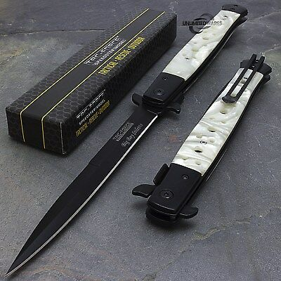 """12.5"""" Tac Force Pearl Spring Assisted Stiletto Folding Tactical Pocket Knife"""