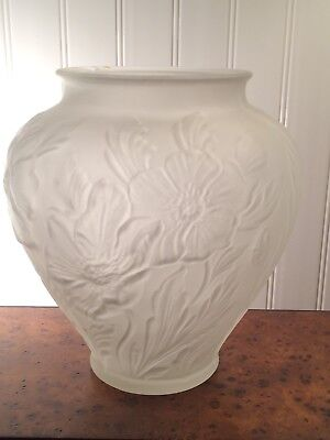 Vintage / Antique ~ TIFFIN Frosted Satin Glass Poppy Vase ~ 8 1/2""