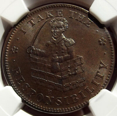 1833 Hard Times Token - I Take the Responsibility - MS62 NGC - Political (HT70)