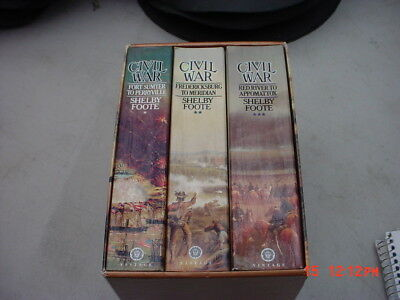 THE CIVIL WAR by SHELBY FOOTE - COMPLETE 3 VOLUME PAPERBACK SET w/case