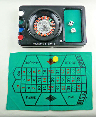 Vtg Roulette Game by Shields Metal Wheel Betting Surface for Table Poker Chips