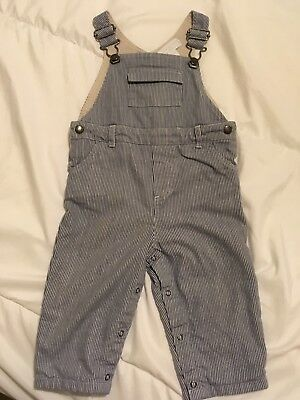 Little White Company Baby Boys Blue&White Stripe Dungarees 9-12mnths Worn Once