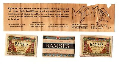 3 Vintage Ramses Condom Wrapper Package Directions Rubber Prophylactic