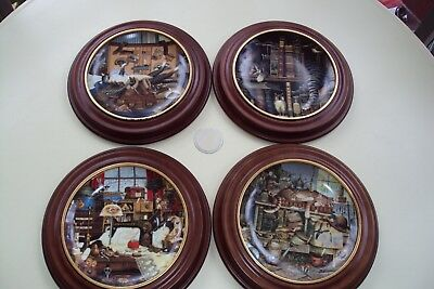 4 Purr-fect Places Cat plates by Charles Wysocki  Vanhygan Smythe frames