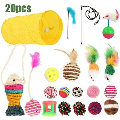 20 x chat jouets chaton Rod souris plume Bell Ball Teaser gratter Tunnel