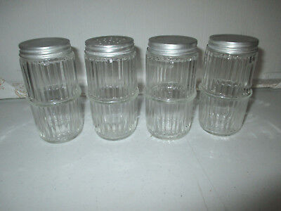Vintage Hoosier Glass Spice Jars with Lids Lot Of 4