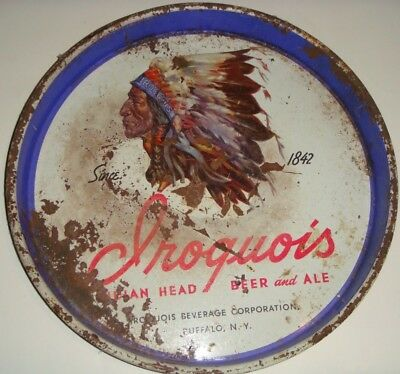 IROQUOIS INDIAN HEAD BEER AND ALE BUFFALO NY VINTAGE  Tray SIGN Bar