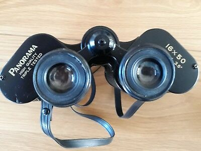 Vintage Panorama Triple Tested 16 x 50 Field 3.5° Binoculars + Hard Carry Case