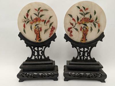 Pair of Antique CHINESE Carved JADE & HARD STONE Round TABLE SCREEN