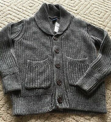 NWT Gap Kids Boys Thick Cardigan Knit Dark Grey Button Up Sweater Size S(6-7)