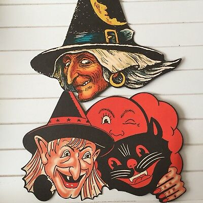 Halloween Beistle 1950/2012 Vintage Style Reproduction Decor Witch Cat