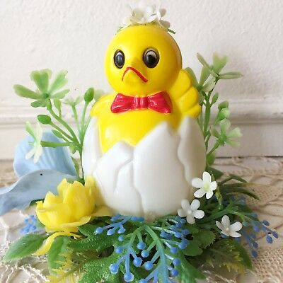 Vintage Easter Spring Chick Kitsch Holiday Decor Plastic Flower