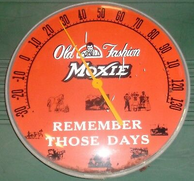 Antique Original OLD FASHION MOXIE Outdoor Thermometer Glass Dome Rockin Rust