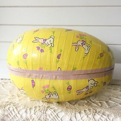 Vintage Large Paper Mache Easter Yellow Egg Floral Bunny Print West Germany