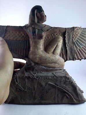 ANCIENT EGYPTIAN ANTIQUES GODDESS Winged Isis Egypt Statue Stela Stone 1075 Bc