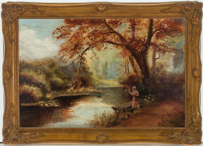 English School Early 20th Century Oil - Figure on an Autumnal River Bank