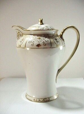 NIPPON, JAPAN:  Hand Painted: Rose / Cartouche Floral Chocolate Pot - Gold Gilt