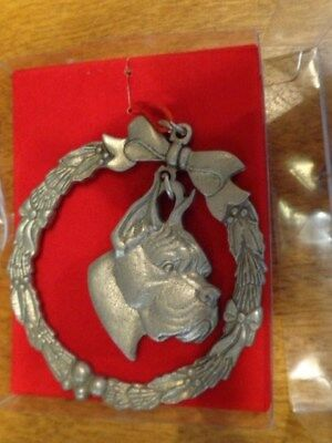 Rawcliffe Pewter Boxer Dog Ornament New