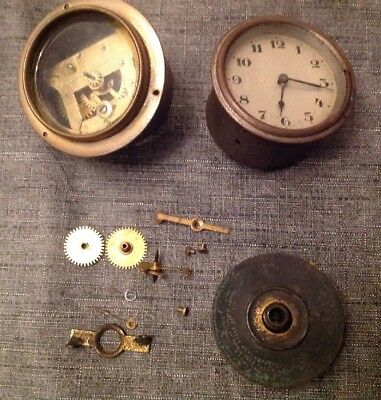 Antique Clock Case Wound Drum Style + Another For Repair Or Spare Parts