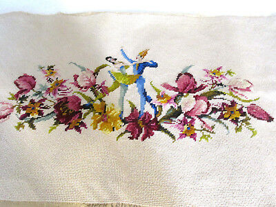 Antique Needlepoint Chair Tapestry Wool Man&woman Ballerina In Floral Victorian