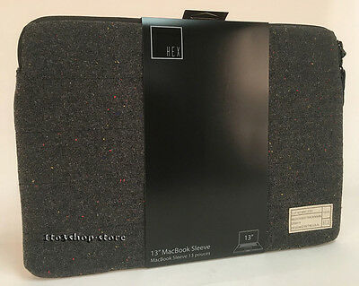 "HEX Monarch Coat Sleeve Slip Pouch Case for MacBook Pro & Air 13"" Charcoal Tweed"