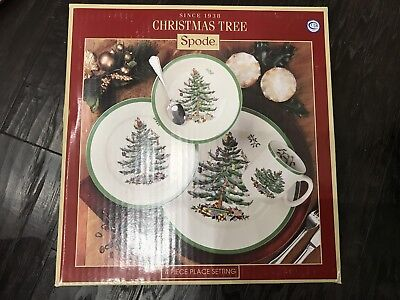 NEW SPODE Christmas Tree One 4-Piece Dinnerware Place Setting NIB Plate Cup Bowl