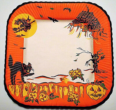 Vintage Halloween Paper Luncheon Plate  Black Cat/Haunted House/Witch  1950's