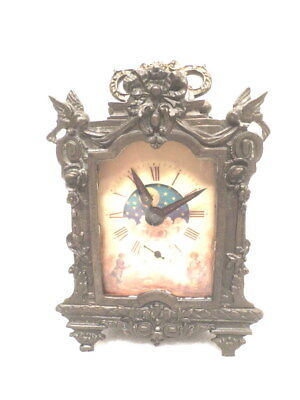 French Style Rococo Brass Day/Night Moon Dial Carriage Clock-Subsidiary Second
